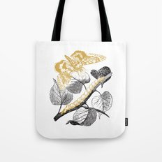 Golden Butterfly And Catepillar Tote Bag