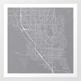 Provo Map, Utah USA - Pewter Art Print