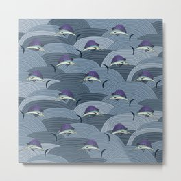 Swordfish Espadon | Pattern Art Metal Print