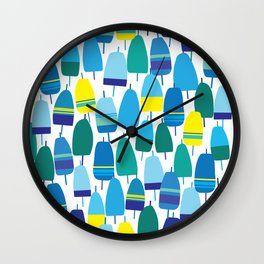 Blue Lobster Buoy Pattern Wall Clock