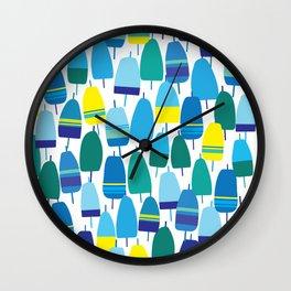 Blue Lobster Buoy Pattern Wall Clock