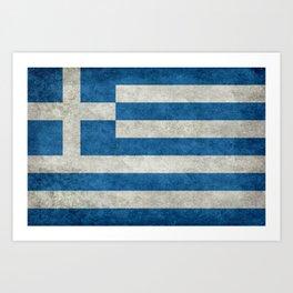 Flag of Greece, vintage retro style Art Print
