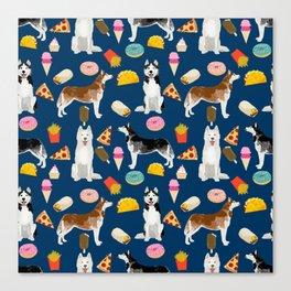 Husky siberian huskies junk food cute dog art sweet treat dogs pet portrait pattern Canvas Print