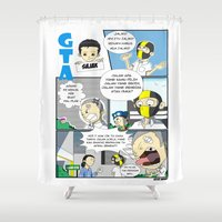 gta Shower Curtains featuring GTA - Comic strip by Azlee Mahat