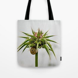 Thistle bud and snail Tote Bag