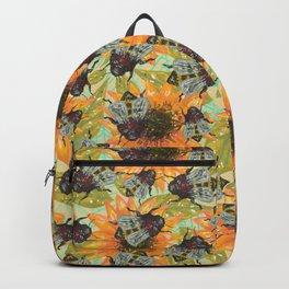 bee sunflower pattern Backpack