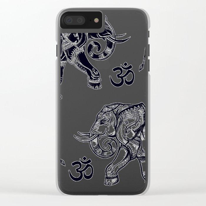 Elephants Pattern Clear iPhone Case