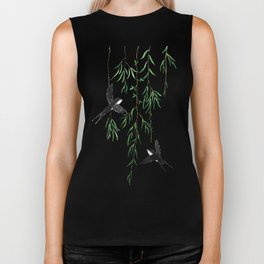 green willow leaf and swallow watercolor Biker Tank