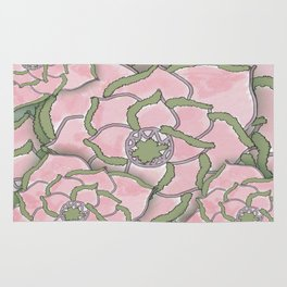 Pretty Pink Flower Collage Rug