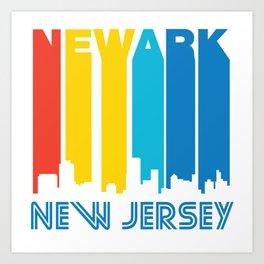 Retro 1970's Style Newark New Jersey Skyline Art Print