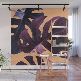 Blue & Lilac Tropical Leaves Wall Mural