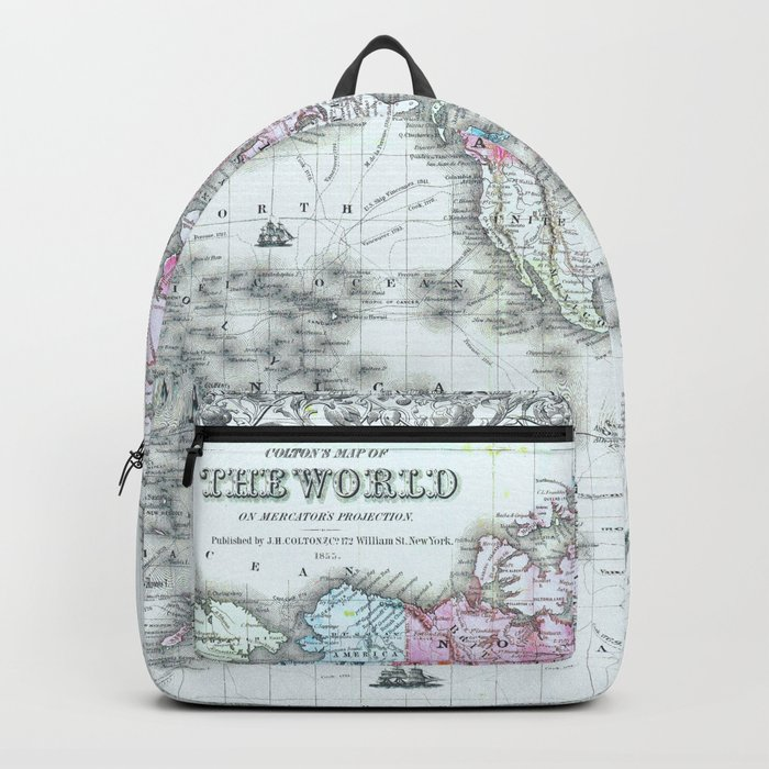 Vintage World Map 1855 Backpack