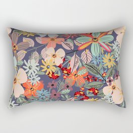 Rustic pattern with many colored flowers. Simple pretty style Rectangular Pillow