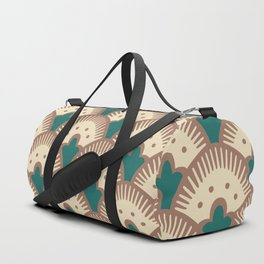 Fan Pattern Brown and Green 991 Duffle Bag
