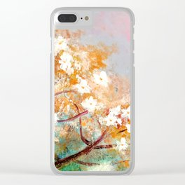 White Blossoms Floral Art Clear iPhone Case
