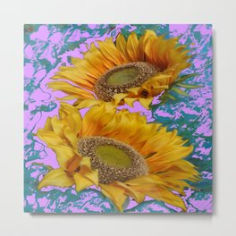 TWO YELLOW SUNFLOWERS TURQUOISE-LILAC Art Metal Print