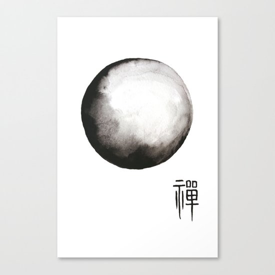 """Zen painting and Chinese calligraphy of """"Zen"""" Canvas Print"""