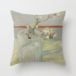 Sprig of Flowering Almond in a Glass Throw Pillow
