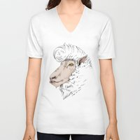rockabilly V-neck T-shirts featuring Rockabilly Sheep by TurkeysDesign