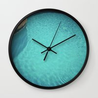aqua Wall Clocks featuring Aqua by Cassia Beck
