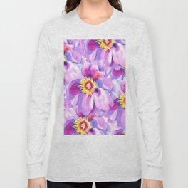 Hand painted lavender pink yellow watercolor floral pattern Long Sleeve T-shirt