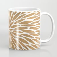 rose gold Mugs featuring Rose Gold Burst by Cat Coquillette