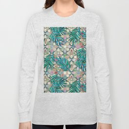 Muted Moroccan Mosaic Tiles with Palm Leaves Long Sleeve T-shirt