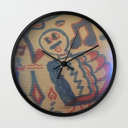 Blue Seventeen on Cardboard 88 Wall Clock