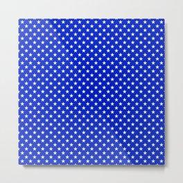 White Stars on Cobalt Blue Metal Print