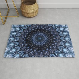 Dark and light blue mandala Rug