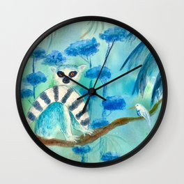 Blue Lemur mixed media art Wall Clock