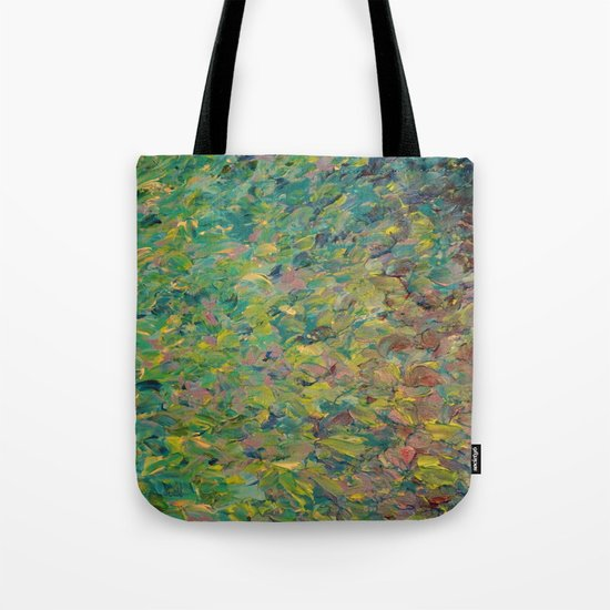 FIELDS OF BLUE - WOW Modern Abstract Shades of Blue and Green in Nature Theme Grass Waves Tote Bag