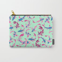 Koi From Above [Teal & Mint on Blue] Carry-All Pouch