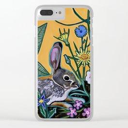 Rabbit Kickin' Back Clear iPhone Case