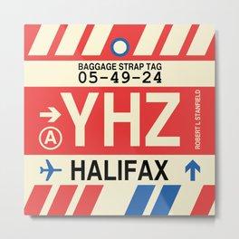 YHZ Halifax • Airport Code and Vintage Baggage Tag Design Metal Print
