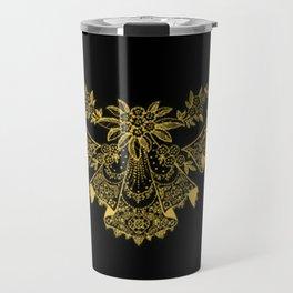 Vintage Lace Hankies Black and Primrose Yellow Travel Mug