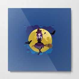 Full moon and witch Metal Print