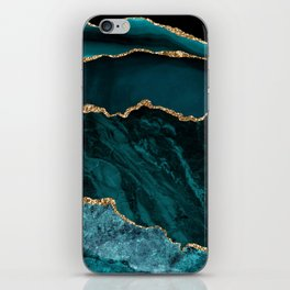 Teal Blue Emerald Marble Landscapes iPhone Skin