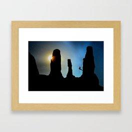 Rock Climbing Mountaineer Framed Art Print