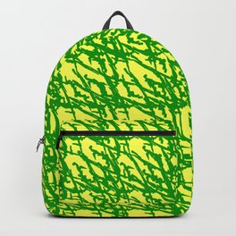 Braided geometric pattern of wire and green arrows on a yellow background. Backpack