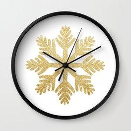 Gold Glitter Snowflake Wall Clock