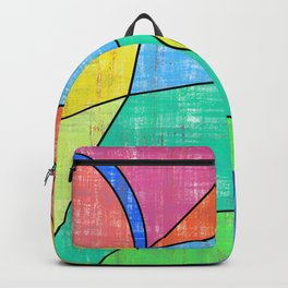 Colorful geometric abstract print, primary colors print Backpack