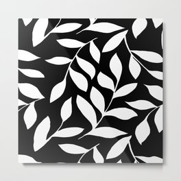 WHITE AND BLACK LEAVES DESIGN PATTERN Metal Print