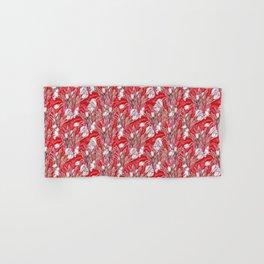 Crocus Flowers, Botanical Floral Pattern, Scarlet Hand & Bath Towel