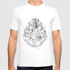 Hogwarts Crest Black and White MEDIUM White Mens Fitted Tee