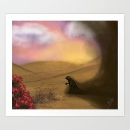 Lonely demon in the desert Art Print