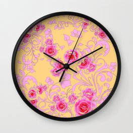 PINK-RED ROSE ABSTRACT FLORAL GARDEN ART Wall Clock