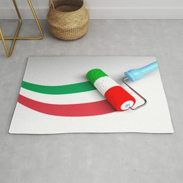 Roller paint brush giving to a white surface the colors of the italian flag - 3D rendering illustrat Rug