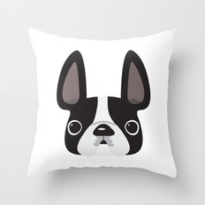 Black Pied w/ White Markings Frenchie Throw Pillow