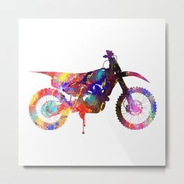 Dirt Bike Watercolour 610 Watercolor Map Yoga Quot Metal Print